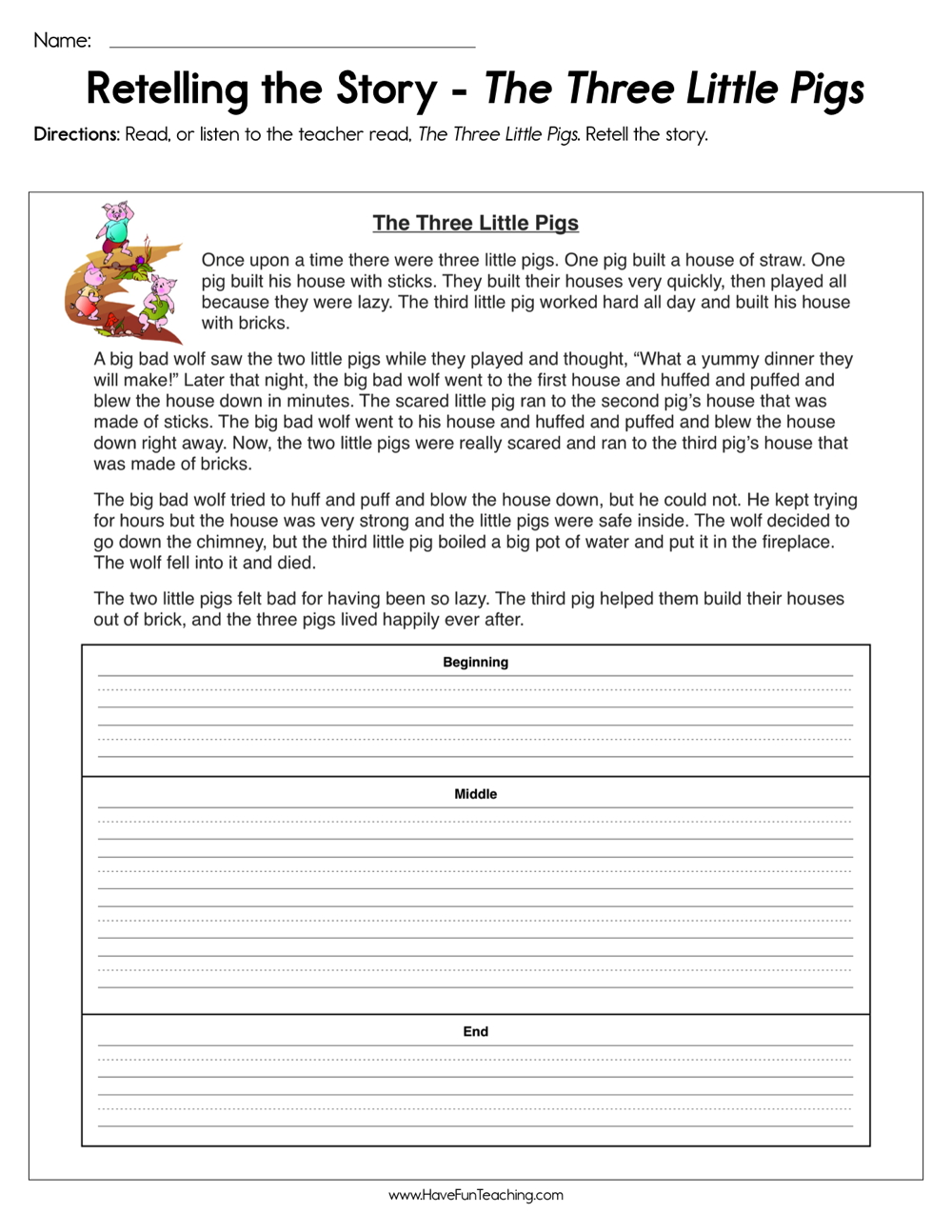 photograph regarding Three Little Pigs Printable Story identify Retelling the Tale The 3 Minor Pigs Worksheet Consist of Enjoyment