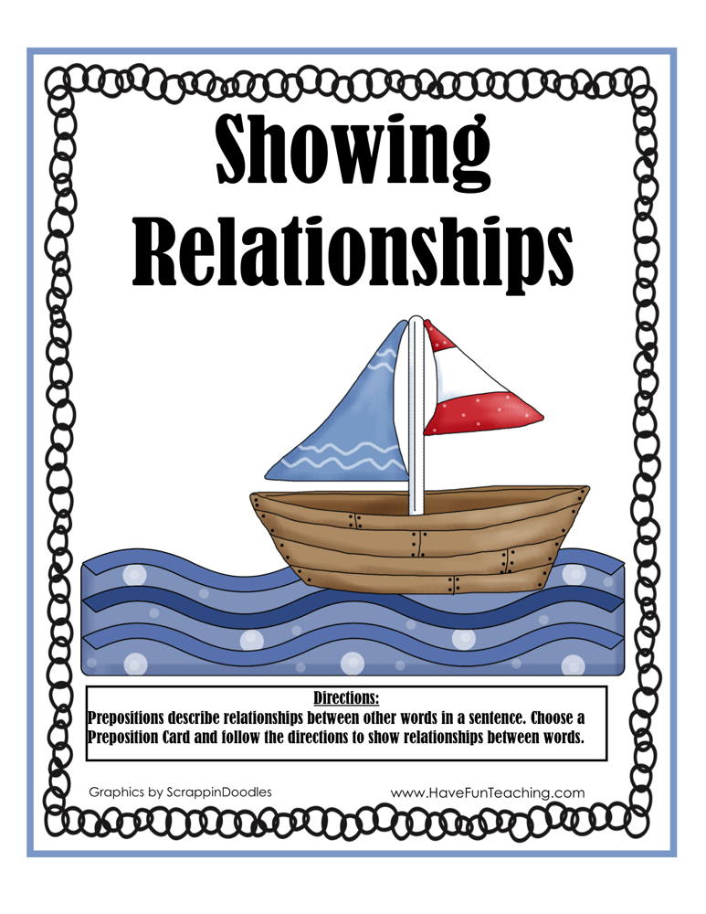 Showing Relationships Prepositions Activity