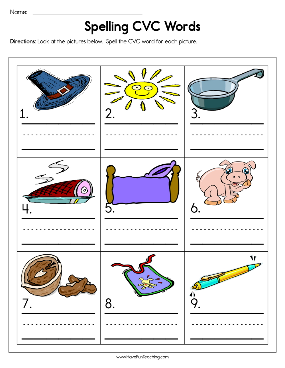 Spelling CVC Words Worksheet