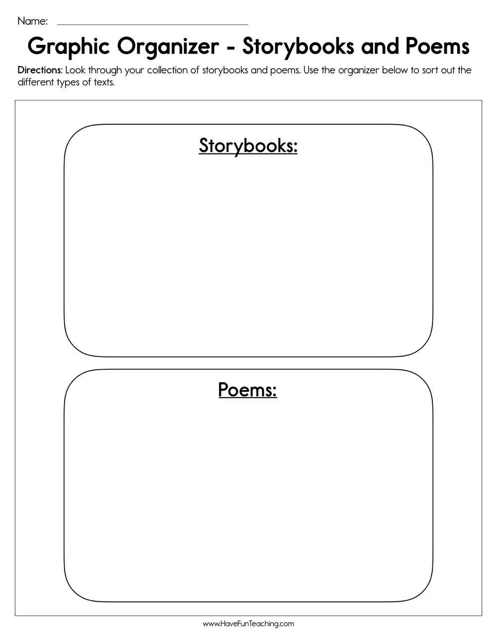 Story Books and Poems Graphic Organizer Worksheet