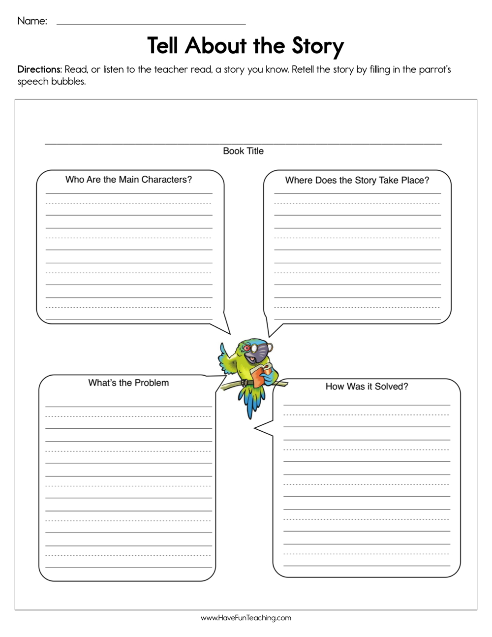 Tell About the Story Worksheet