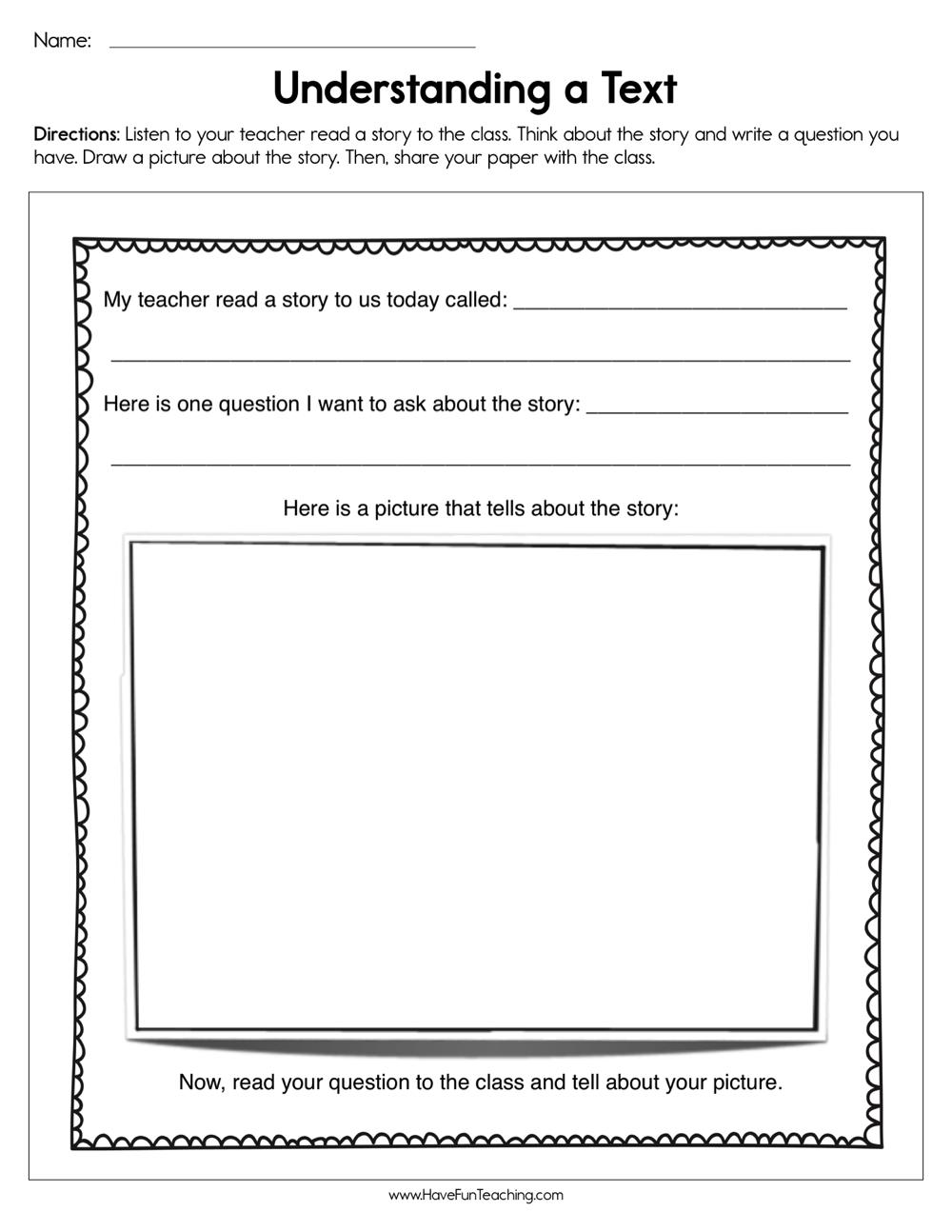 - Understanding A Text Worksheet • Have Fun Teaching