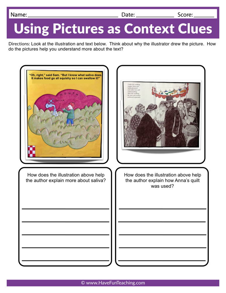 Using Pictures as Context Clues Worksheet