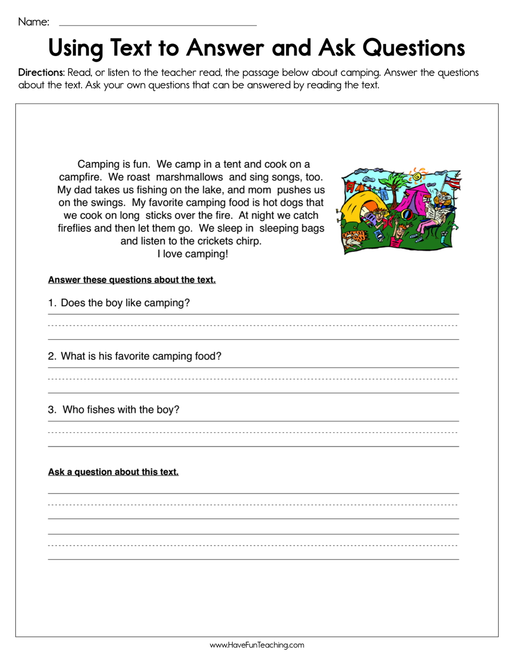 - Using Text To Answer And Ask Questions Worksheet • Have Fun Teaching