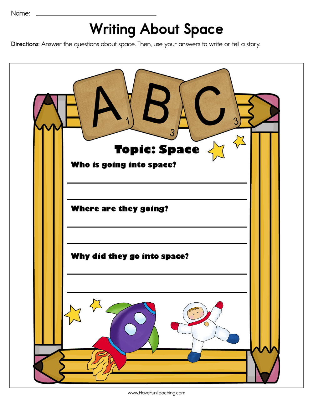 Writing about Space Worksheet