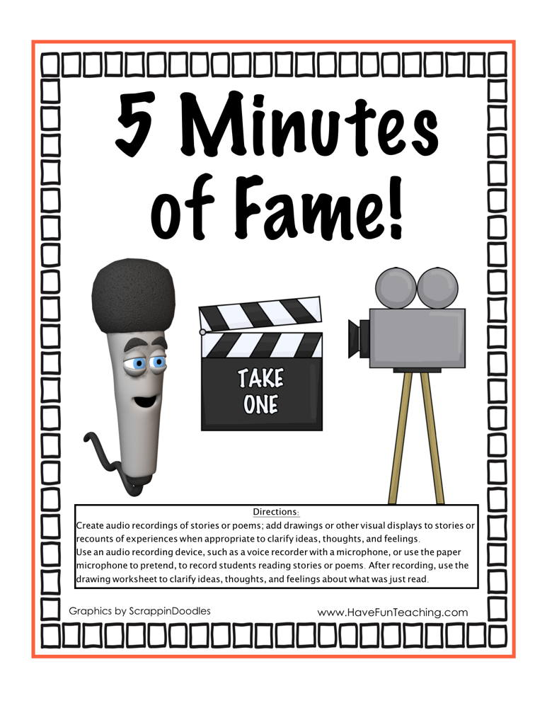 1bc4646b5 5 Minutes of Fame Read Aloud Activity | Have Fun Teaching