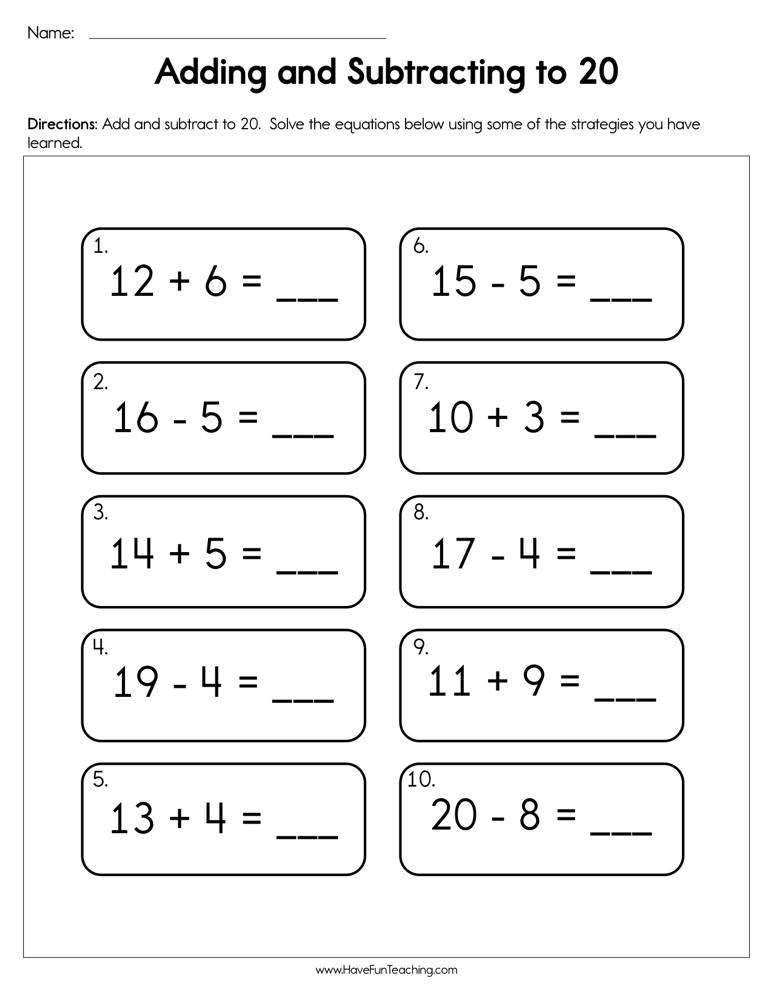 Adding and Subtracting to 20 Worksheet | Have Fun Teaching