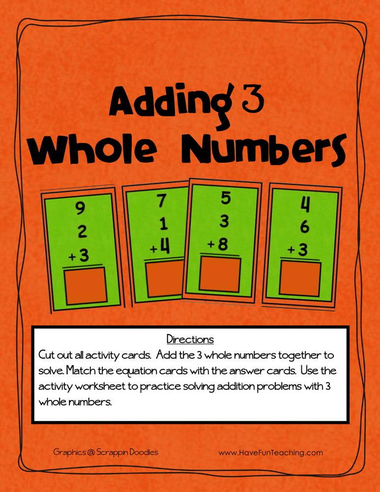 Adding Three Numbers Activity