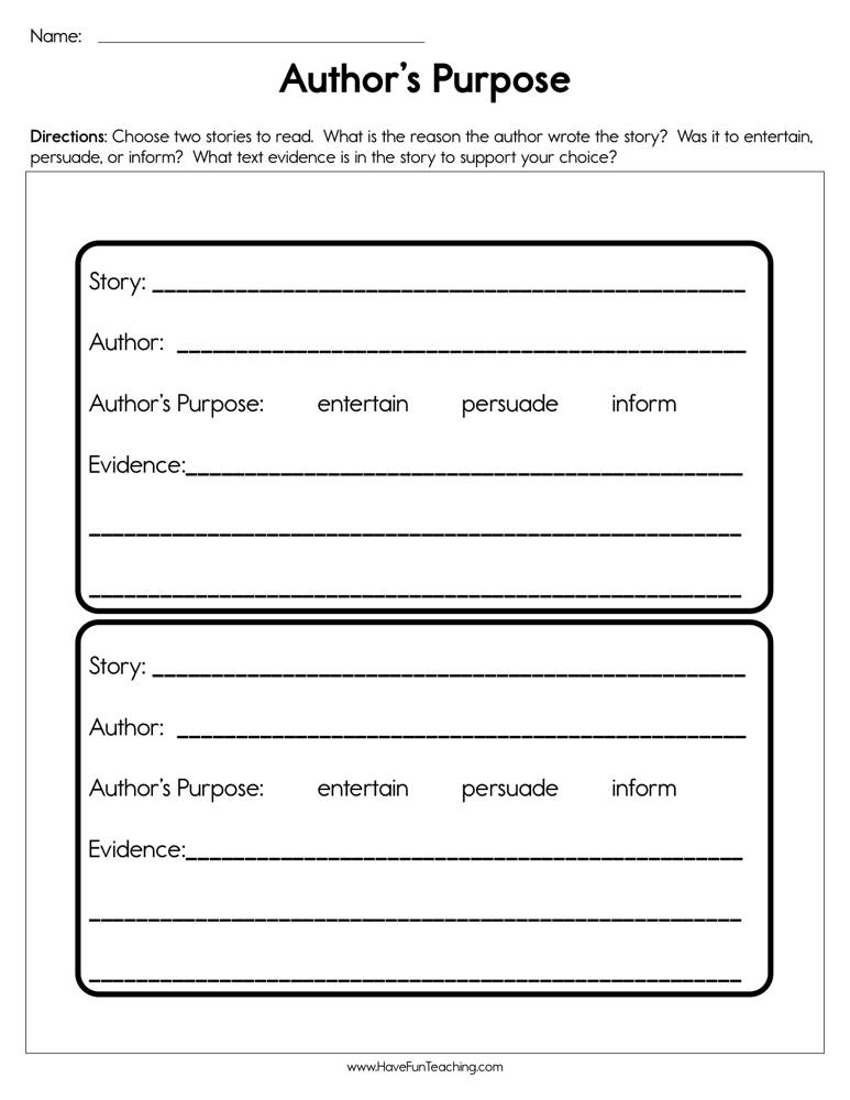 Author's Purpose Worksheet | Have Fun Teaching