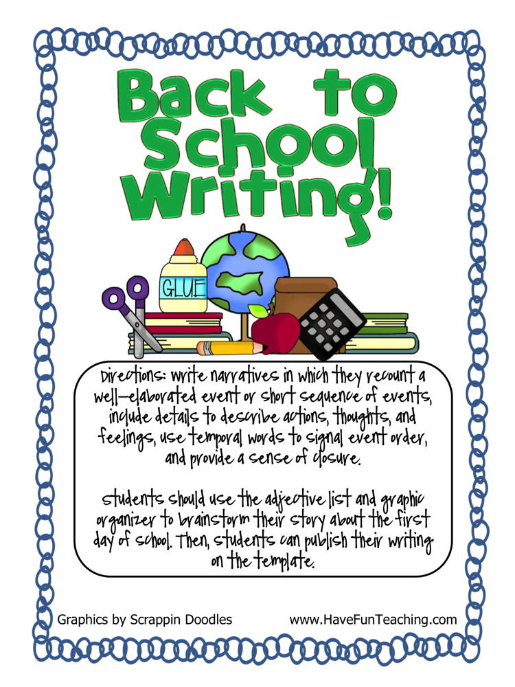 Back to School Adjective Writing Activity