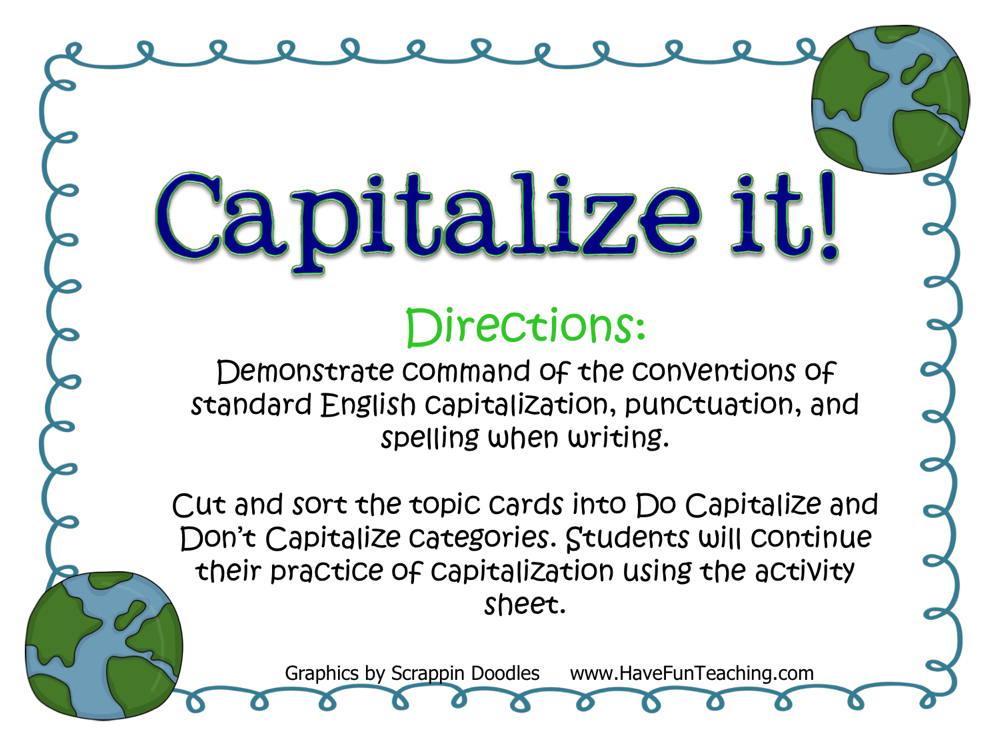 Capitalize It Activity