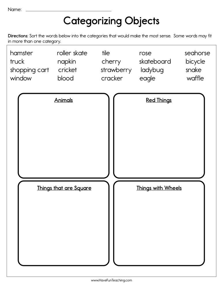categorizing objects worksheet have fun teaching. Black Bedroom Furniture Sets. Home Design Ideas
