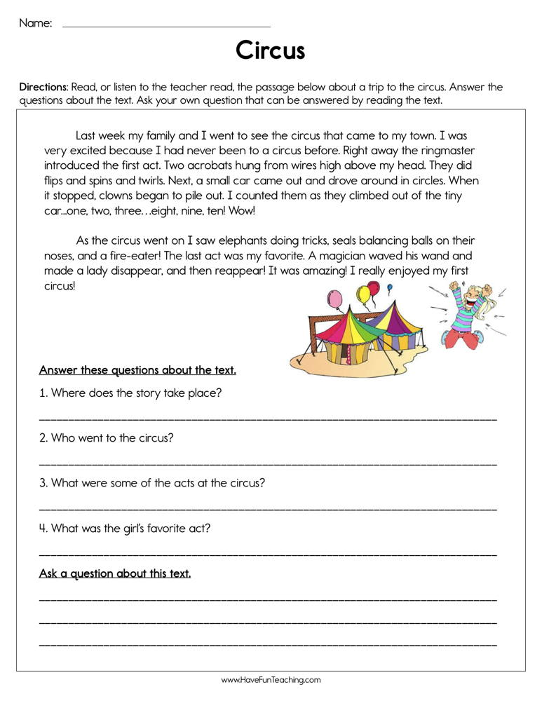 Circus Reading Comprehension Worksheet • Have Fun Teaching