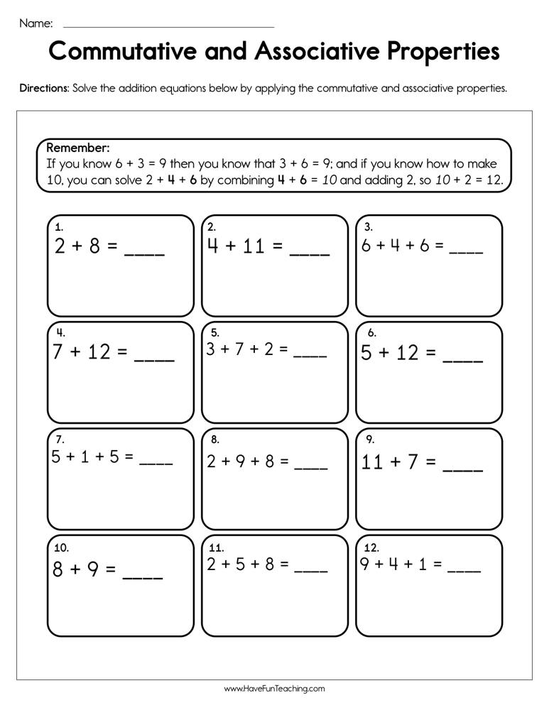 Commutative and Associative Properties Worksheet