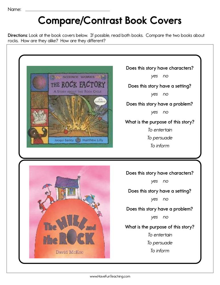 Compare Contrast Book Covers Worksheet