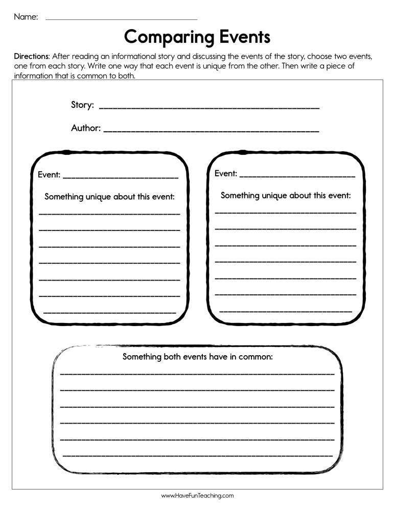 Compare Two Stories Worksheet
