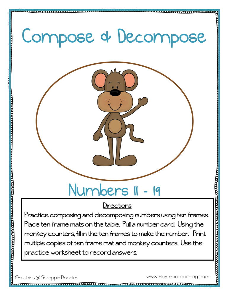Compose And Decompose Numbers 11 19 Activity Have Fun Teaching - Download Composing And Decomposing Numbers Kindergarten Worksheets Pics