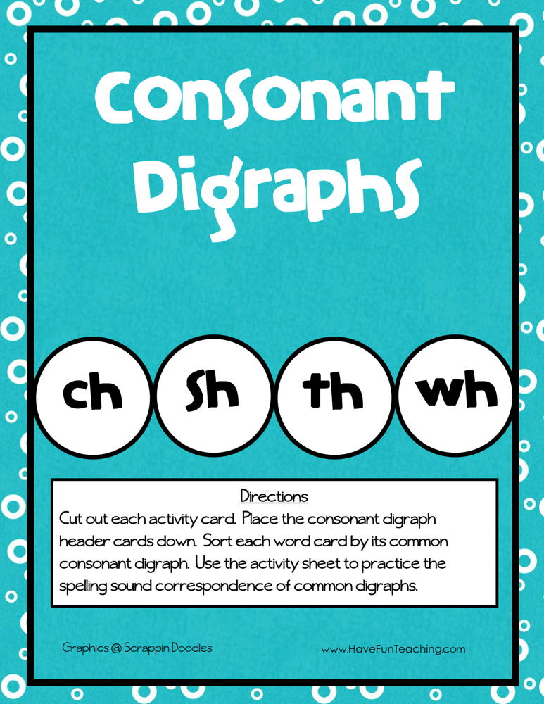 Consonant Digraphs CH SH TH WH Activity