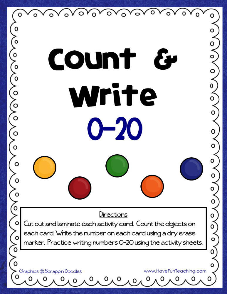 Count and Write 0-20 Activity