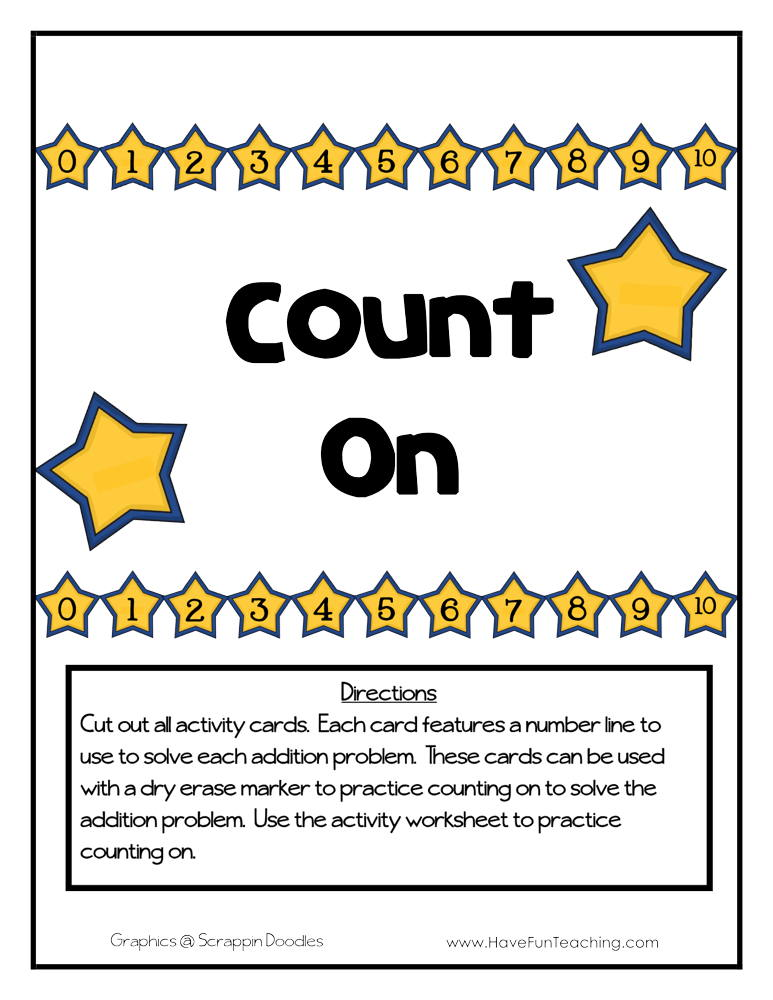 Count on Number Line Addition Activity