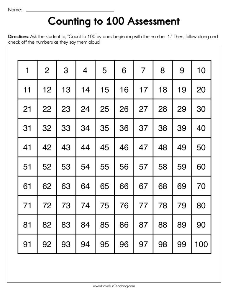 Counting to 100 Assessment Worksheet | Have Fun Teaching