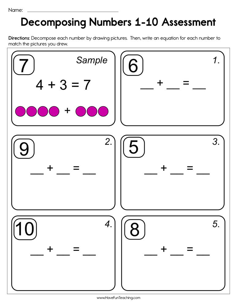 Decomposing Numbers Assessment Worksheet