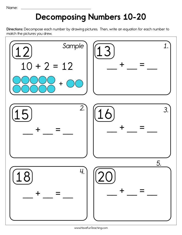 Decomposing Numbers 10-20 Worksheet | Have Fun Teaching