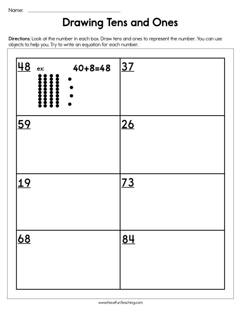 Drawing Tens And Ones Worksheet Have Fun Teaching