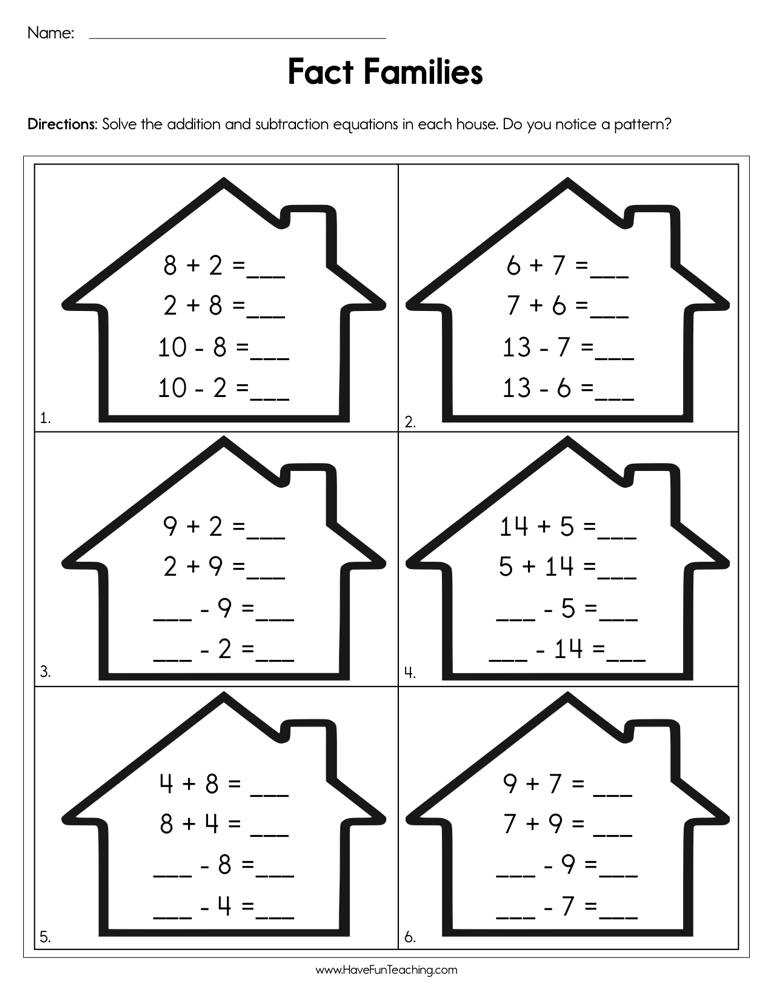 Completing Fact Families Worksheet - Have Fun Teaching
