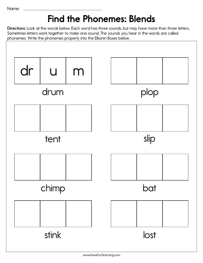 Find the Phonemes Blends Worksheet | Have Fun Teaching