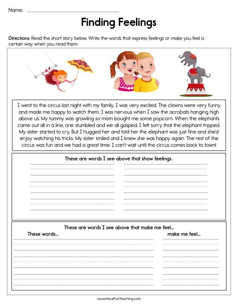 Finding Feelings Worksheet