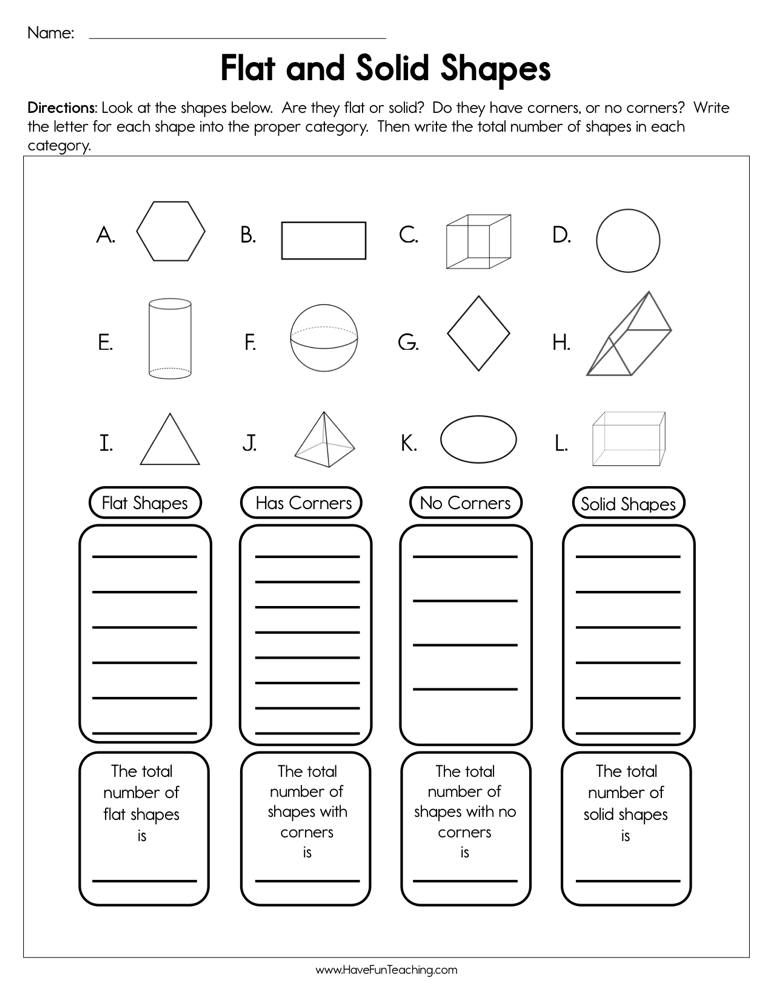 Resources Second Grade Math Shapes Worksheets