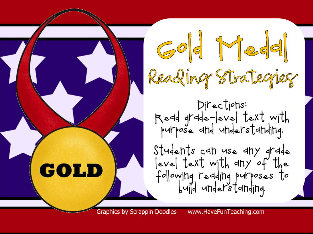 Gold Medal Reading Strategies Activity