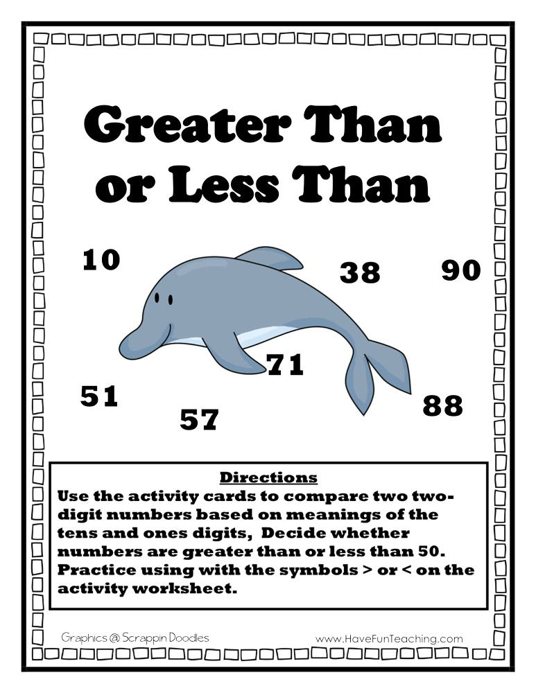 Greater Than Less Than Dolphin Activity