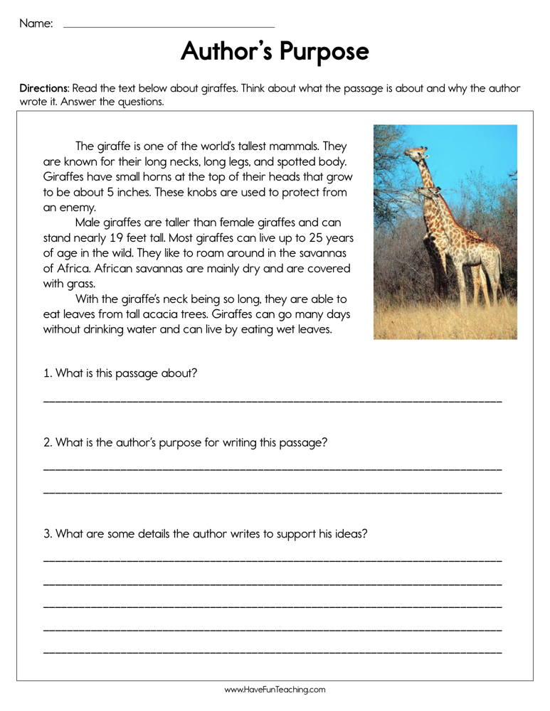 Identifying Author's Purpose Worksheet | Have Fun Teaching