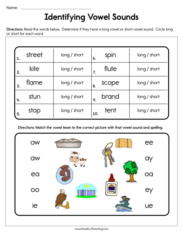 Identifying Vowel Sounds Worksheet