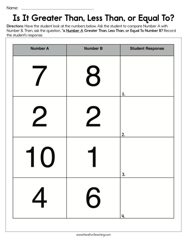 Is It Greater Than Less Than Or Equal To Worksheet Have Fun Teaching