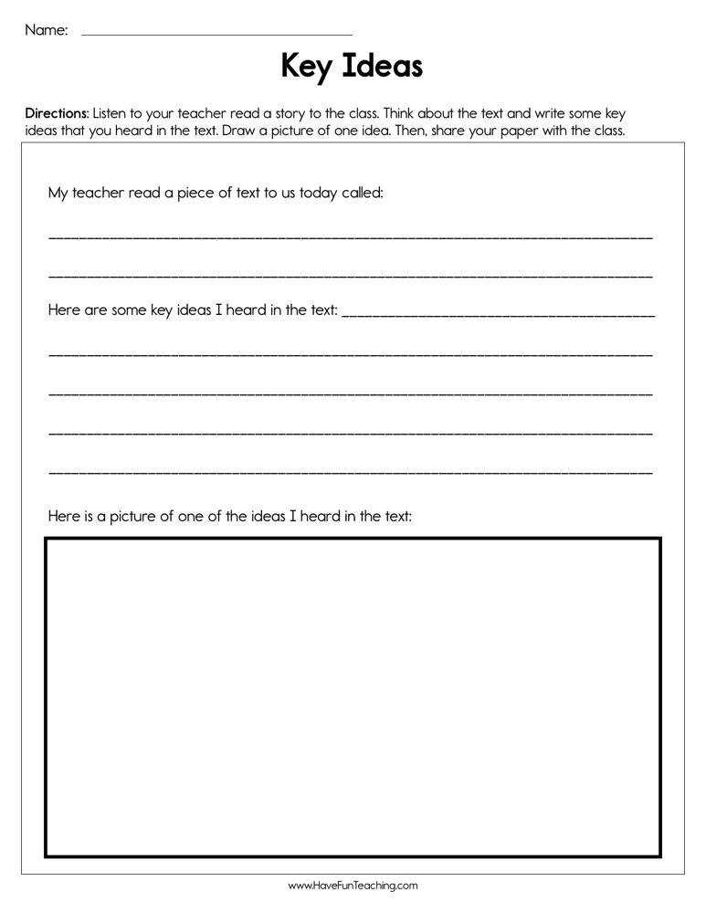 Key Ideas Worksheet | Have Fun Teaching