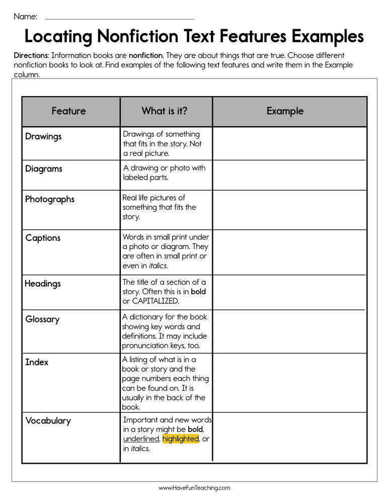 Locating Nonfiction Text Features Examples Worksheet