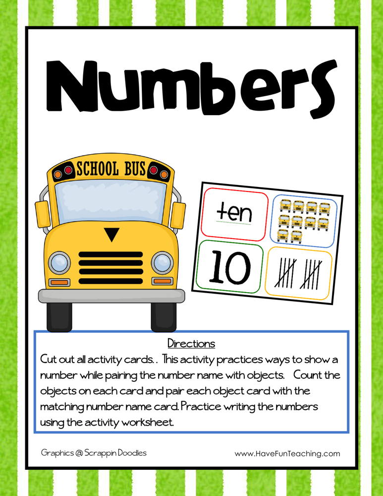 One to One Correspondence Counting Numbers Activity