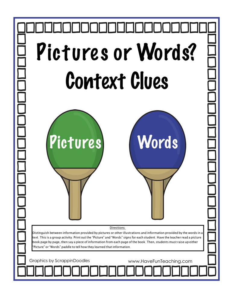 Pictures and Words Context Clues Activity