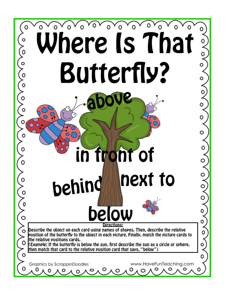 Position Words Butterfly Activity