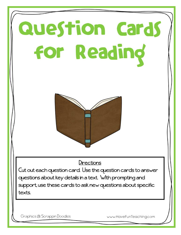Question Cards for Reading Activity