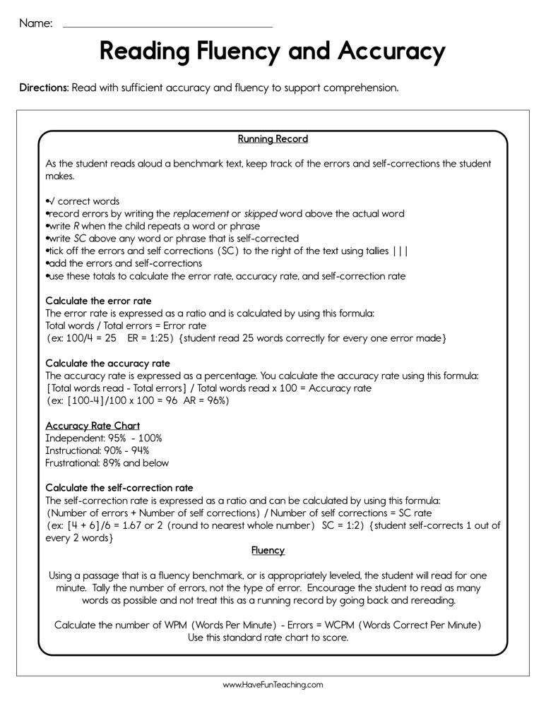 Reading Fluency and Accuracy Worksheet | Have Fun Teaching