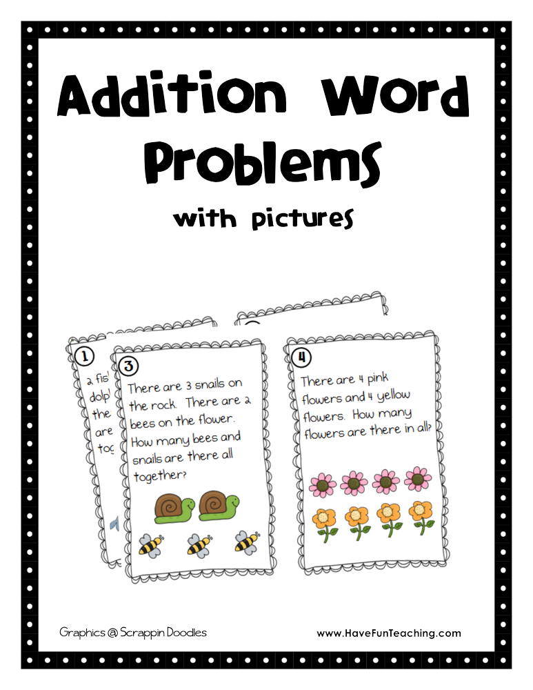 Single Digit Addition Word Problem Activity