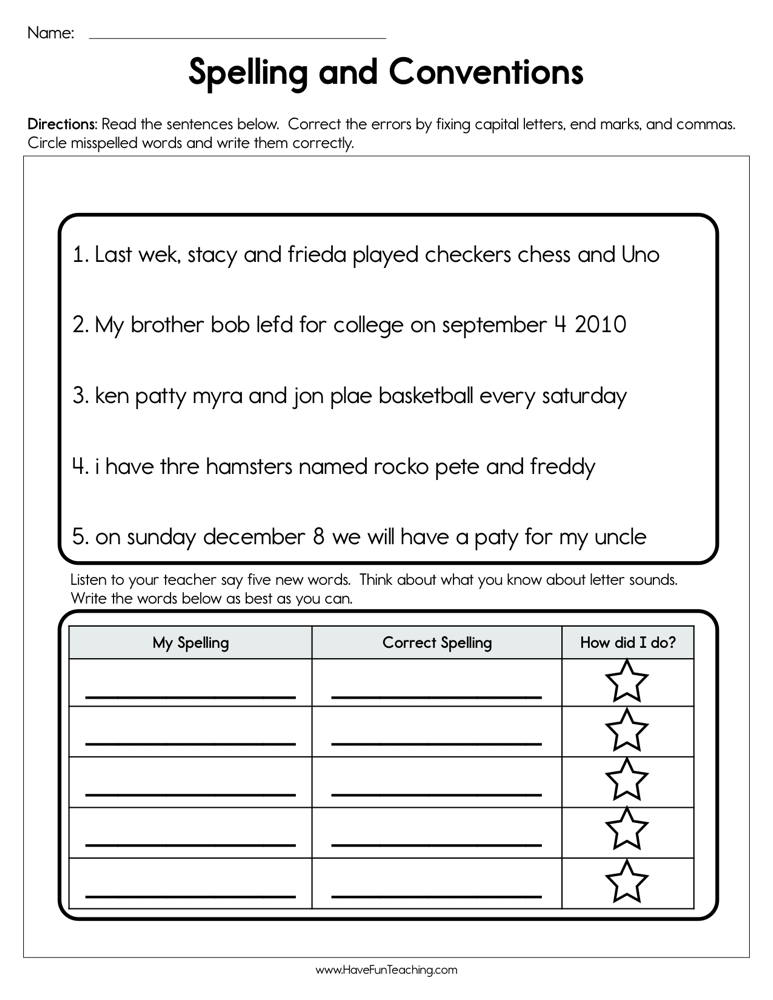 Spelling and Conventions Worksheet