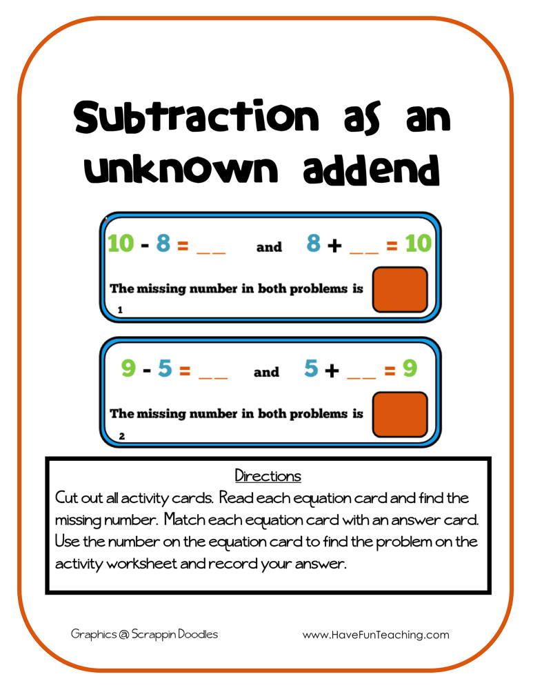 Subtraction as an Unknown Addend Activity