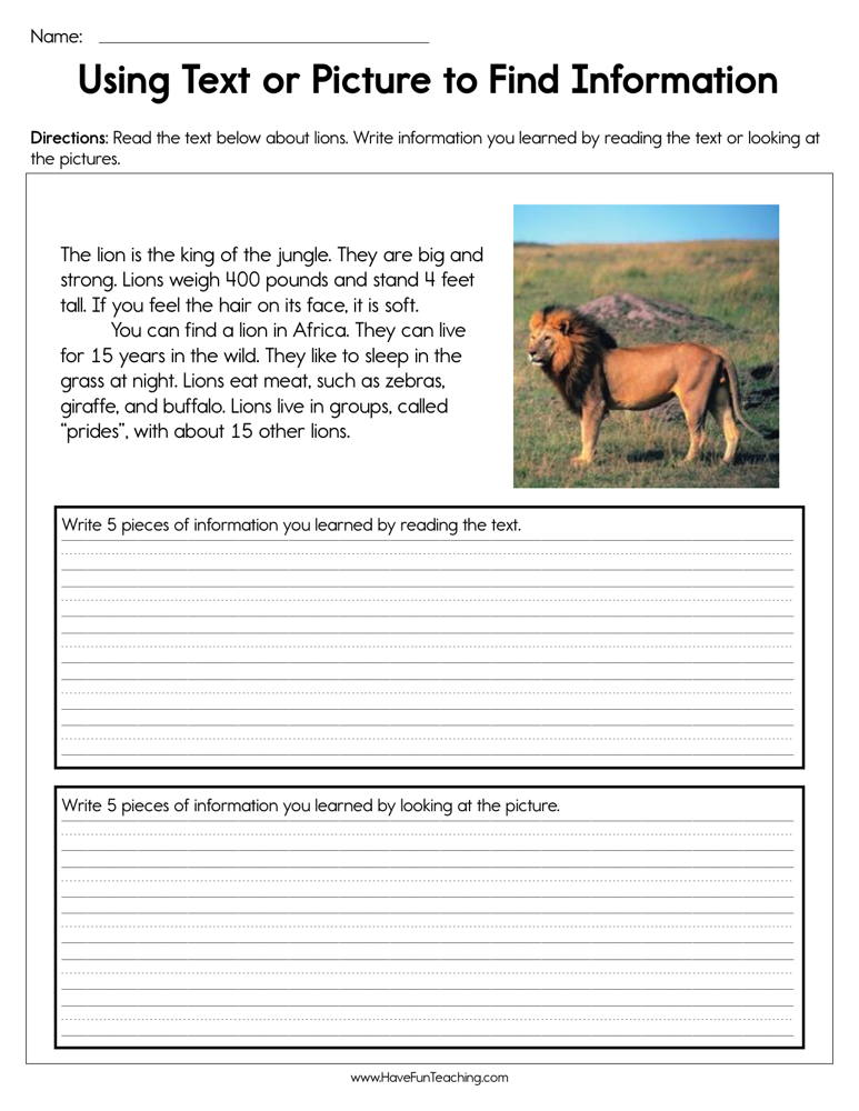 Using Text or Pictures to Find Information Worksheet
