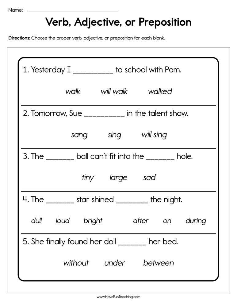 Verb Adjective or Preposition Worksheet | Have Fun Teaching