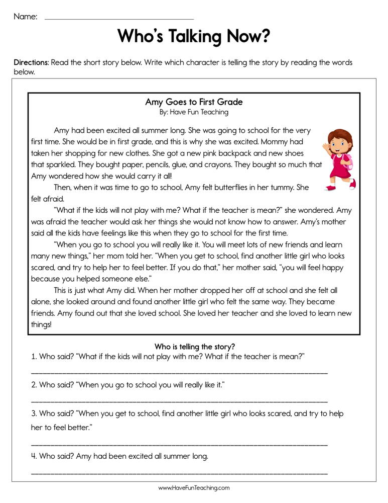 Who's Talking Now Worksheet | Have Fun Teaching